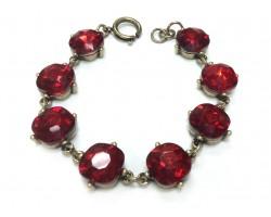 Siam Crystal Cabochon Gold Link Bracelet