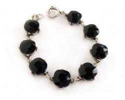Jet Black Crystal Cabochon Silver Link Bracelet