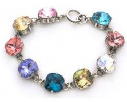 Multi Light Crystal Cabochon Silver Link Bracelet
