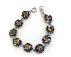 Light Colorado Topaz Crystal Cabochon Silver Link Bracelet