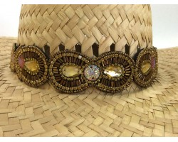 Gold Brown Seed Bead Crystal Stretch Hat Band