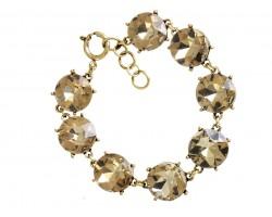 Light Colorado Topaz Crystal 16mm Cabochon Gold Link Bracelet