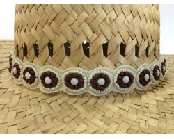 Ivory Brown Seed Beads Flowers Stretch Hat Band