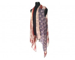 USA Flag Distressed Sleeveless Long Tailed Cardigan