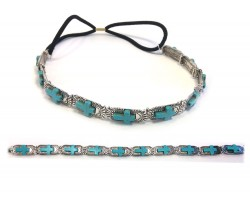 Turquoise Cross Silver Rectangle Stretch Hatband