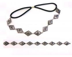 Silver Etched Diamond Stretch Hatband