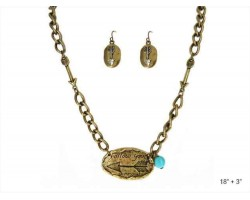 Gold Oval Follow Your Arrow Chain Necklace Set