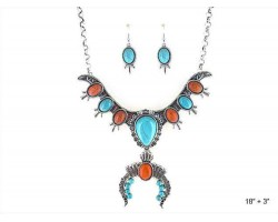 Turquoise Teardrop Coral Squash Blossom Necklace Set
