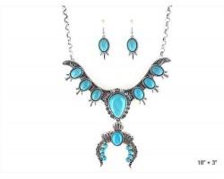 Turquoise Teardrops Squash Blossom Necklace Set