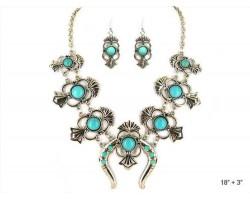 Turquoise Round Stone Squash Blossom Necklace Set