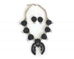 Black Squash Blossom Flower Stone Necklace Set