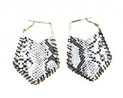 Gray Snakeskin Cord Wrap Hoop Post Earrings
