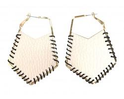 Ivory Leather Cord Wrap Hoop Post Earrings
