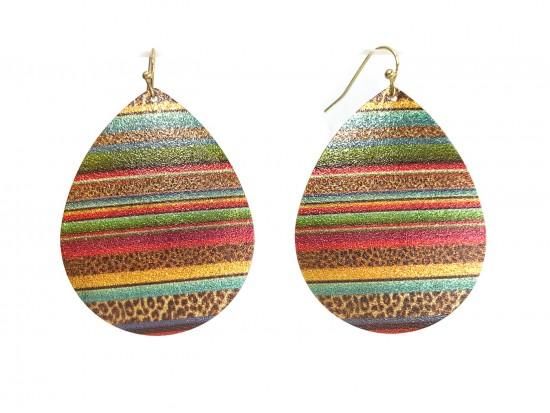 Multi Serape Teardrop Glitter Texture Hook Earrings