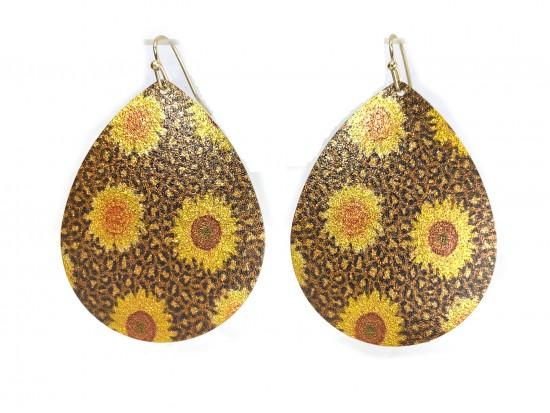 Sunflower Teardrop Glitter Texture Hook Earrings