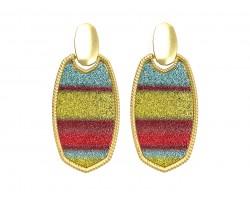 Multi Stripe Glitter Texture Oval Post Earrings