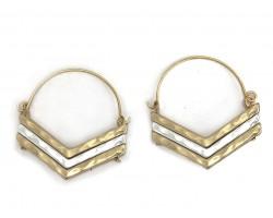 Gold Silver Chevron Hoop Earrings