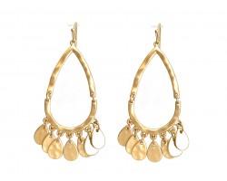 Gold Teardrop Charm Hook Earrings