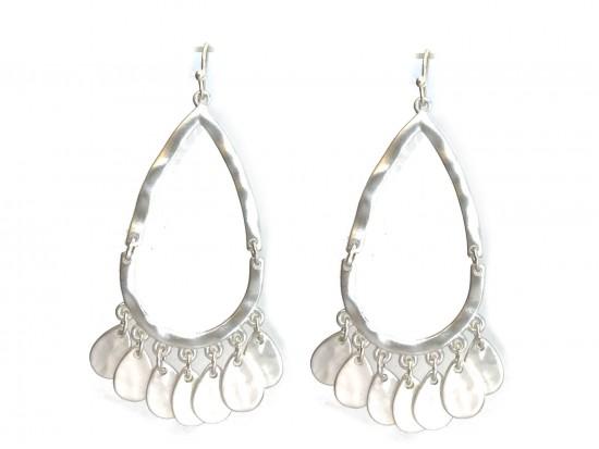 Silver Teardrop Charm Hook Earrings