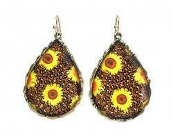 Sunflower Teardrop Hook Earrings
