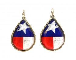 Texas Flag Teardrop Hook Earrings