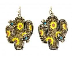 Sunflower Print Cactus Hook Earrings
