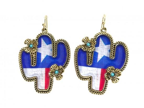 Texas Flag Cactus Hook Earrings