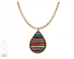 Multi Serape Teardrop Gold Chain Necklace