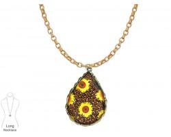 Sunflower Teardrop Gold Chain Necklace