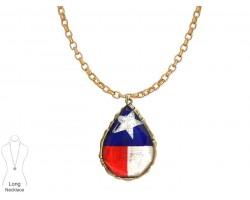 Texas Flag Teardrop Gold Chain Necklace
