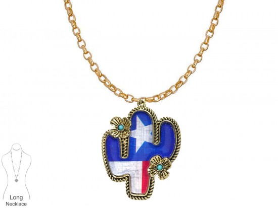 Texas Flag Cactus Gold Chain Necklace