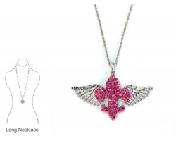 Pink Crystal Winged Fleur De Lis Necklace