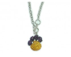 """24"""" Topaz And Amethyst Crystal Paw Print Pendant With Silver Chain"""