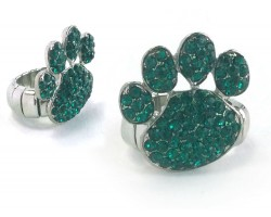Green Emerald Crystal Paw Print Stretch Ring
