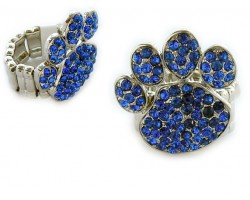 Blue Sapphire Crystal Paw Print Silver Stretch Ring