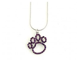 Purple Crystal Paw Print Outline Pendant Necklace