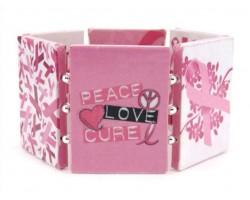 Pink Cancer Ribbon Paper Art Bracelet