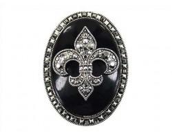 Black Fleur De Lis Oval Pendant