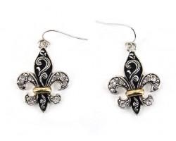 2-Tone Fleur De Lis Filigree Clear Crystal Earrings