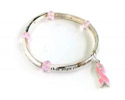 Pink Cancer Ribbon Crystal Charm Stretch Bracelet