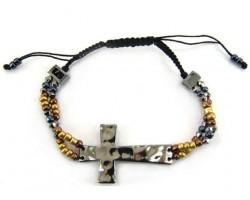 Gunmetal Hammered Cross W/ Beads Adjustable Bracelet