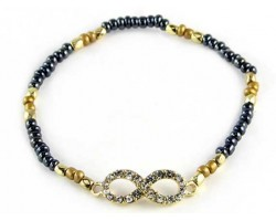 Gunmetal Beaded with Crystal Infinity Stretch Bracelet