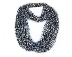 Black & White Lightweight Confetti Knit Infinity Scarf