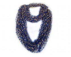 Blue & Gold Lightweight Confetti Knit Infinity Scarf