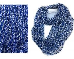 Blue & White Lightweight Confetti Knit Infinity Scarf