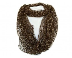 Brown Lightweight Confetti Knit Infinity Scarf