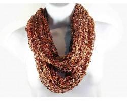 Brown Multi Lightweight Confetti Knit Infinity Scarf