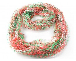 Coral & Green Lightweight Confetti Knit Infinity Scarf