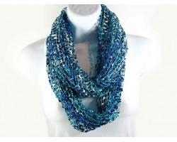 Green Blue Lightweight Confetti Knit Infinity Scarf