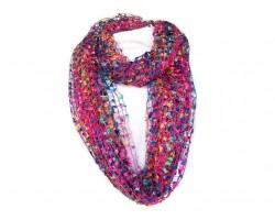 Hot Pink Multi Lightweight Confetti Knit Infinity Scarf